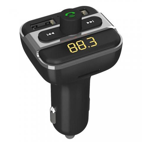 Transmetteur FM Bluetooth Kit De Voiture Chargeur Allume Cigare Avec 2 Porte USB Grand Vitesse Sortie pour iPhone, Androit Sm
