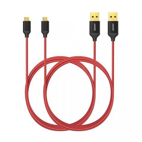 [Pack de 2] Câbles micro USB de 180 cm en nylon tressé Anker anti-emmêlement, avec connecteurs plaqué or, pour téléphones And