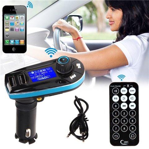 Kit de Voiture Bluetooth Transmetteur FM Lecteur MP3 Kit de Voiture Transmetteur FM sans fil Bluetooth Large écran LCD - Doub
