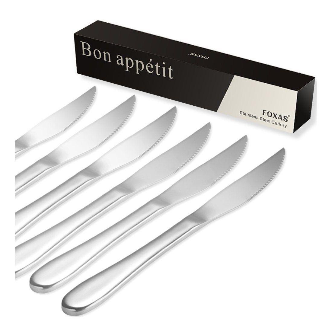 Lot de 6 couteaux steak en acier inoxydable foxas 23 cm - Lot de couteaux de cuisine ...
