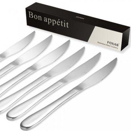Lot de 6 Couteaux à steak en acier inoxydable FOXAS 23 CM couteau à steak en inox Lame de 6 CM couteaux de table couverts de
