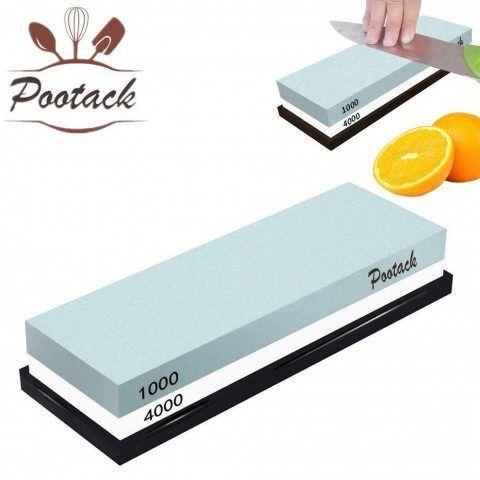 Pierre à aiguiser, Pootack pierre à affuter 1000 / 4000 grain aguiseur couteau profesionnel avec support en caoutchouc - Rési