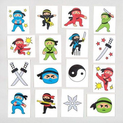 Tatouages temporaires ninjas pour enfant - Jouets parfaits pour les pochettes-surprises des enfants (Lot de 24)