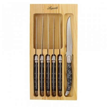 Pradel Excellence 7209-6BDE Coffret de 6 Couteaux Lagiole, Manche Dentelle Acier Inoxydable Inox 29.2 x 18.7 x 1.7 cm