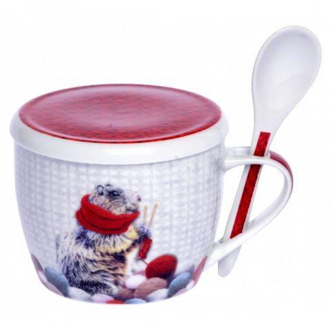 Laissez Lucie Faire MARM9154 Bol à Soupe Céramique Marmotte 15,5 x 15,5 x 12 cm
