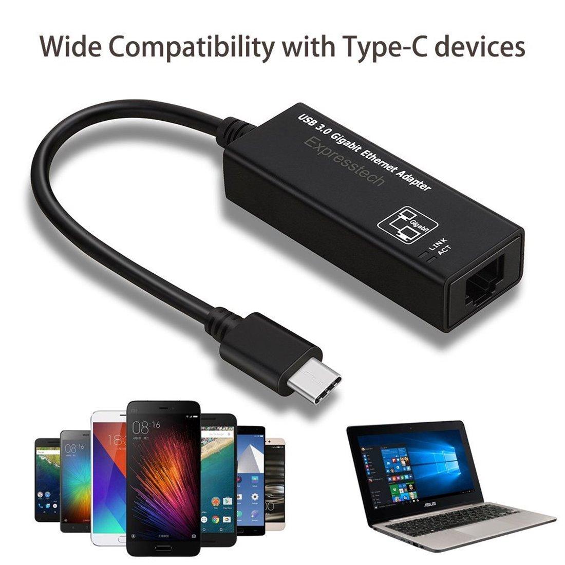 Expresstech @ Adaptateur USB C 3.1 Type C (USB-C) vers RJ45 Gigabit Ethernet Lan Réseau pour New MacBook, Chromebook Pixel, W