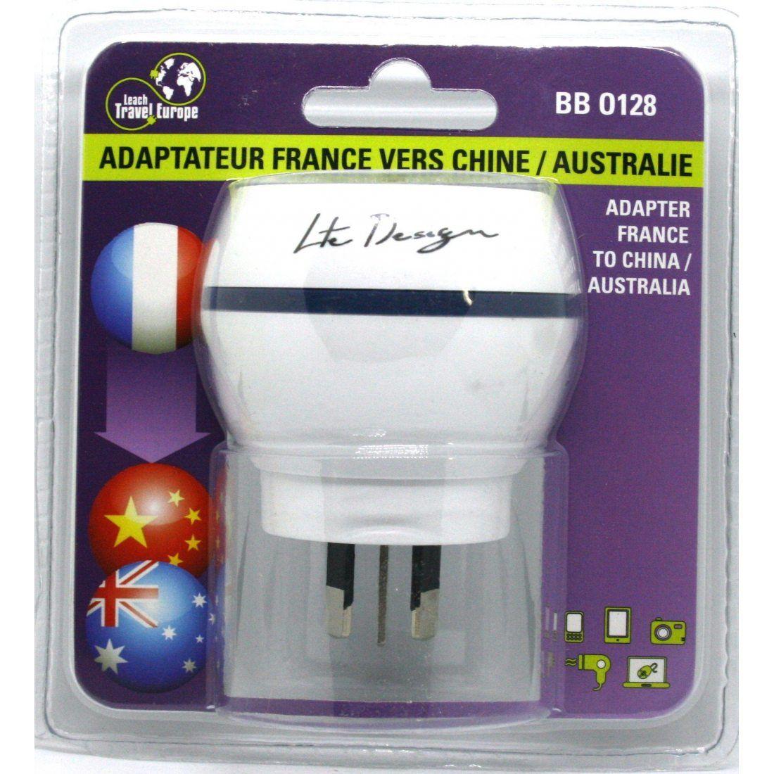 Adaptateur De Voyage France Vers Australie/Chine - Gamme Bulle- BB0128 - LTE Design - Leach Travel Europe