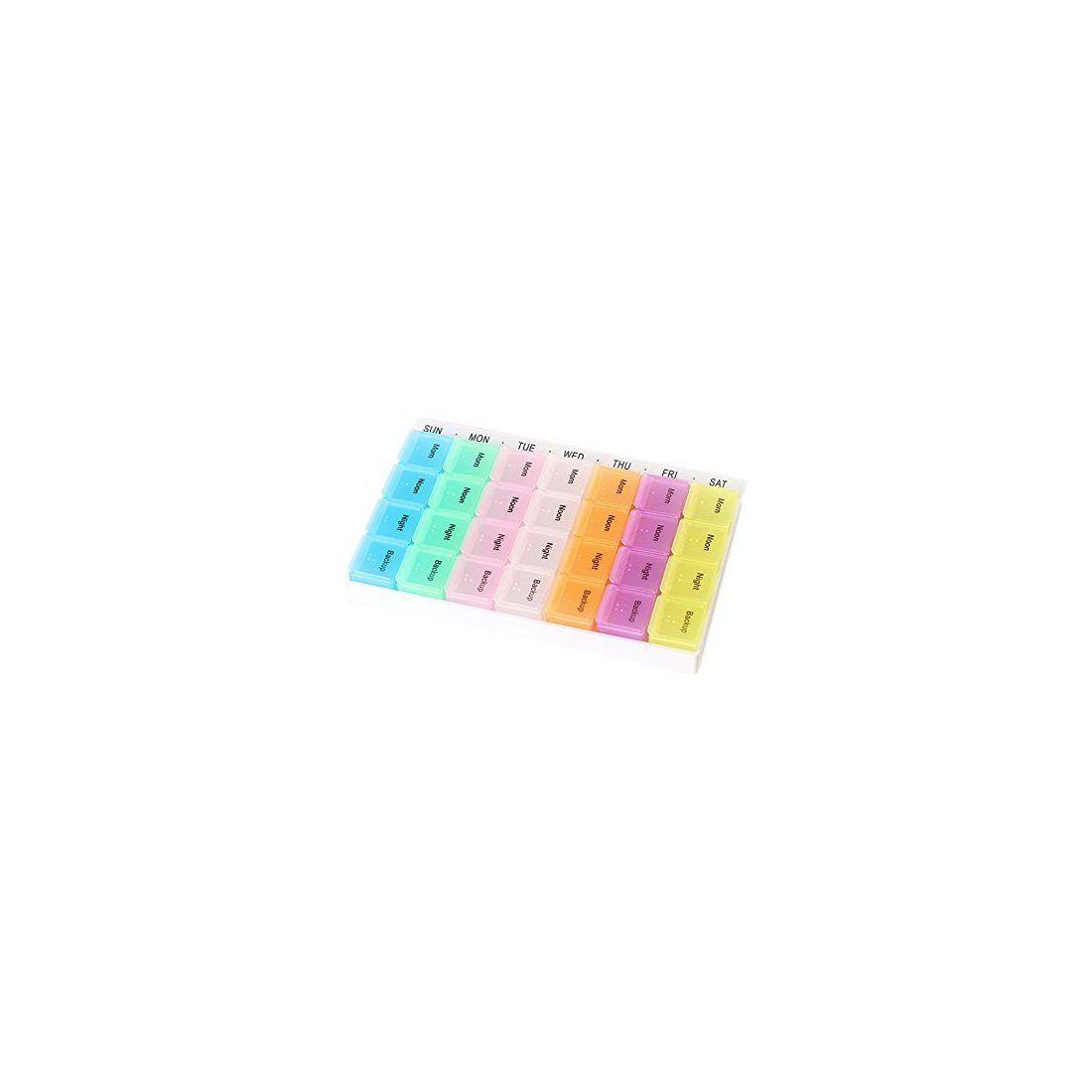 Cisixin Boîte à Pilules en Plastique Pilulier Semainier 7 jours 28 Compartiments Détachables Multicolore Matin/Midi/Soir/Nuit