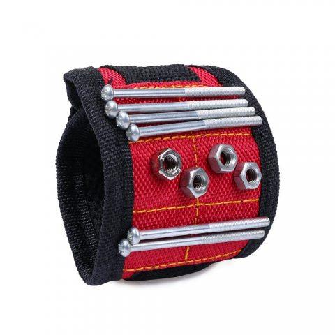 elenker bande poignet magnétique pour maintenir les vis, clous, Forets, Red, Long