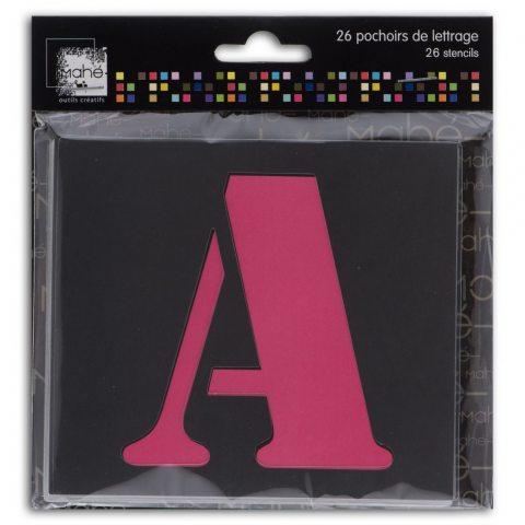 Mahé LE18 Lot de 26 Pochoirs lettres Plastique Transparent 9 x 9 x 0,1 cm