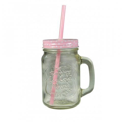 Jocca Mason Jar Mug avec paille, Transparent/rose, 430 ml