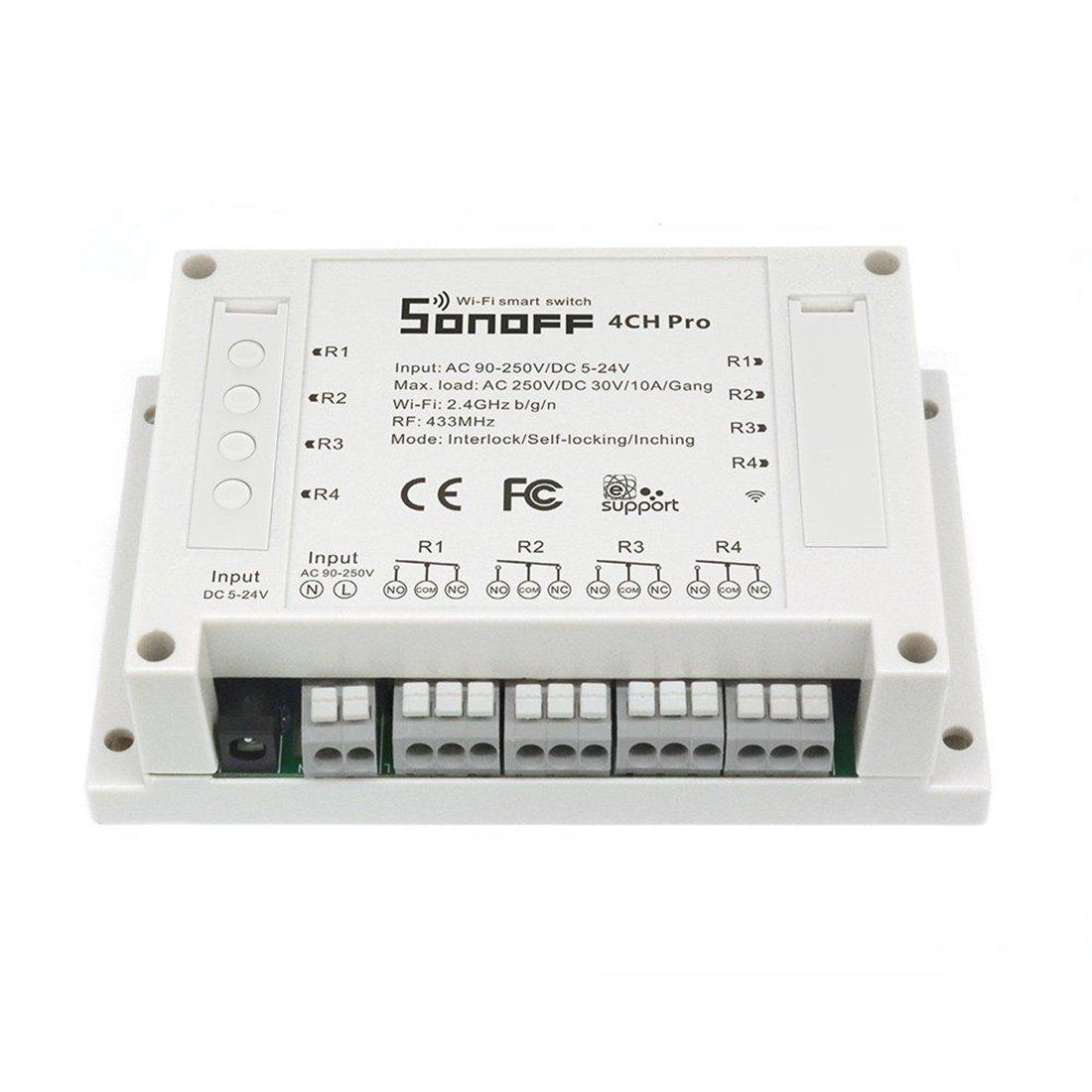 Sonoff 4CH Pro - 4 Canaux Inching/Auto-verrouillage/Interverrouillage Wifi RF Commutateur Intelligent Interrupteur sans fil S