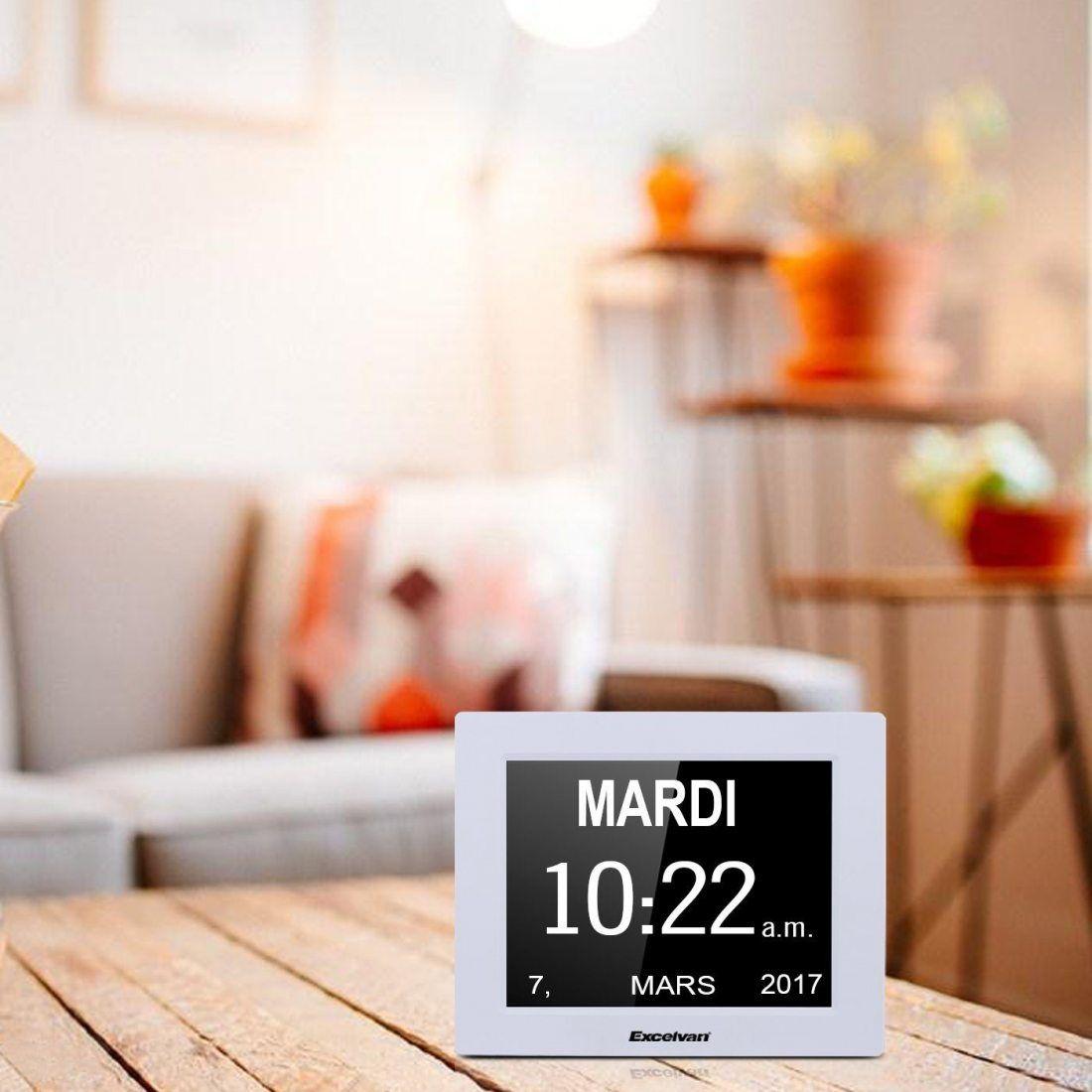Excelvan DC8001 Horloge Calendrier avec Date Jour et Heure Non-Abrégée Auto Dimming