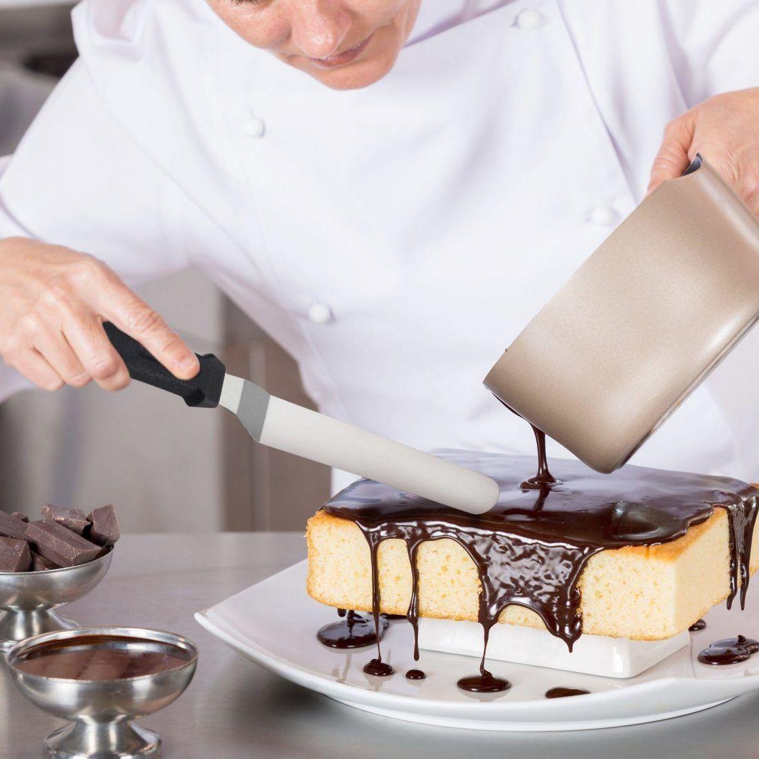 Nobiy's-Lot de 3 Spatule de Glaçage Spatule de Cuisine Coudée Patisserie Couteau Palette Pelle Cuisine en Acier Inox-Noir