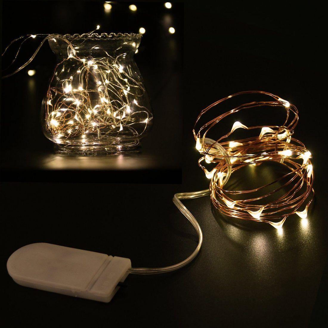 LEDMOMO 8 Unités Guirlande Lumineuse LED 6.6ft/2M Avec 20 micro LED par 2 x CR2032 (Compris) Blanc chaud