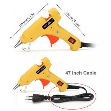 Aoleca Pistolet à colle chaude avec 30 pcs Bâtons de colle haute temperature pour petits bateaux Projets & Package bricolage