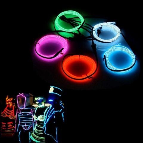AUDEW 5x 1M Fil Néon EL Câble Guirlande Lumineuses à Pile 3 Mode Éclairage Fix Clignotant Stroboscope Tube El Wire Déco Vêtem