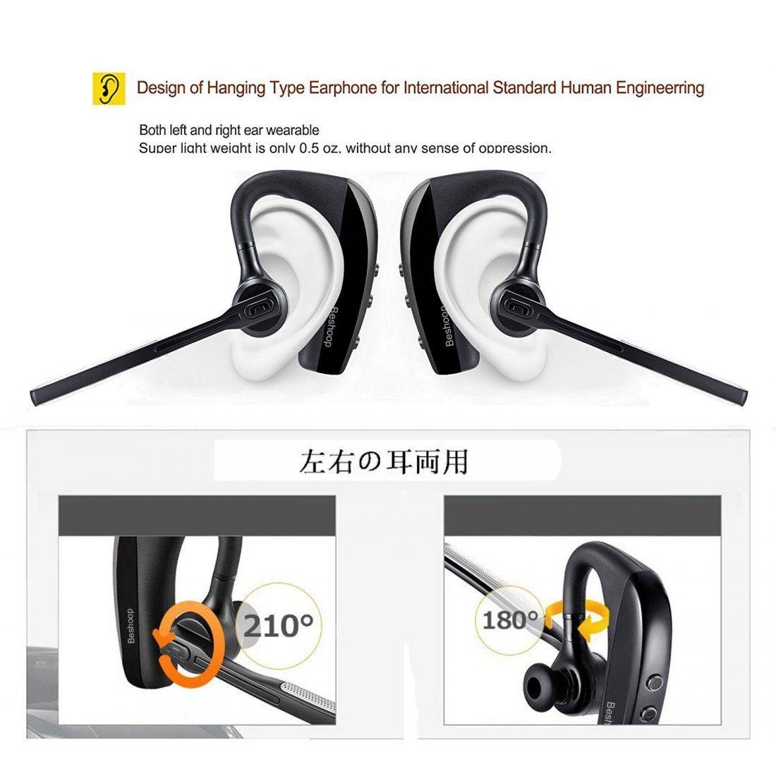Oreillette Bluetooth, Beshoop Oreillette Bluetooth V4.1 Sans Fil Wireless Headset Kit piéton Mains Libres Écouteur Mono avec