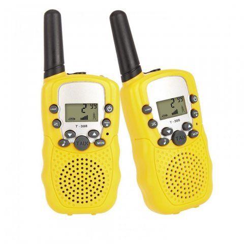 T-388 Paire de Talkies Walkies Enfant PMR446 0.5W Ecran LCD Lampe Torch VOX (jaune)