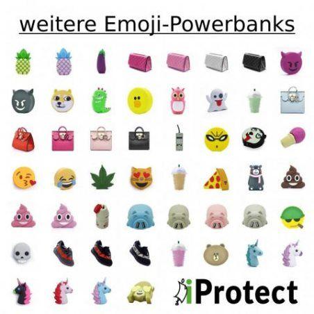 """iProtect chargeur externe batterie de secours émôticone emoji 2000 mAh """"Licorne gris et violet"""" - pour smartphones et autres"""