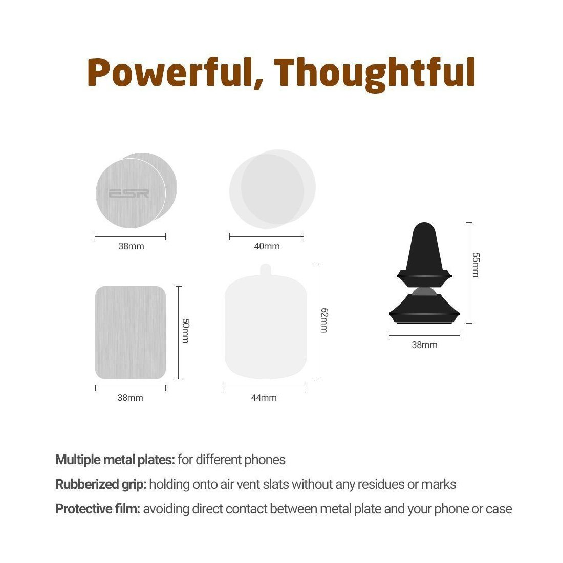 Support Voiture Magnétique, ESR Support Voiture Aimant à Grilles d'Aération, Monture Smartphone Universel avec 360 degré de r