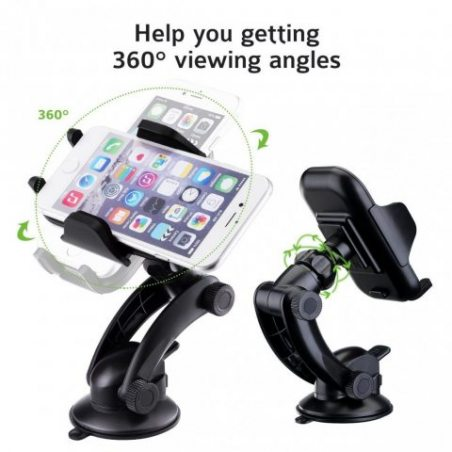 Support Telephone Voiture Universel, PICTEK Auto GPS Support Ventouse à Rotation de 360 Degrés, 105mm de Large pour iPhone 8,
