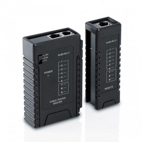 CSL -Testeur de câble réseau pour câbles RJ45/RJ11 | testeur de câbles patch | deux différentes vitesses | sélecteur On/Off |