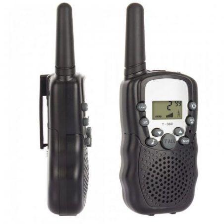 T-388 Paire de Talkies Walkies Enfant PMR446 0.5W Ecran LCD Lampe Torch VOX (noir)