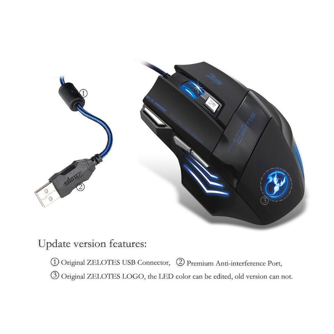 Victop Zélote 5500 Adajustable DPI LED Professional Optical Gaming Mouse 7 Boutons USB Souris filaire pour Game Pro Notebook