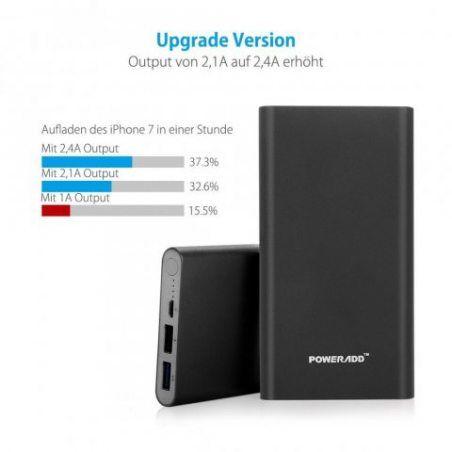Poweradd Pilot 2GS 10000mAh Grande Capacité Chargeur Batterie Portable de Secours Externe (Apple càble non inclus) - Noir