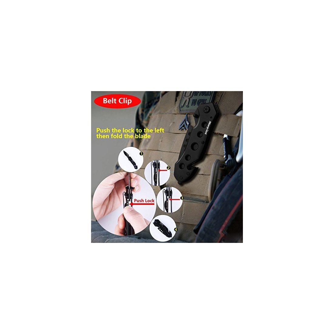 Morpilot Lampe de Poche Tactique et Couteau Tactique, 5 Mode de Luminosité Réglable, 500 LM, étanche IPX4, Couteau Multifonct