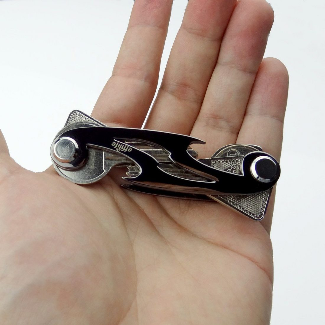 Effilife Porte-Clés / Organisateur de Clefs Compact & Plat, Noir.