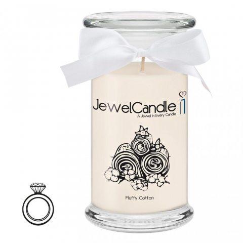 """JewelCandle, bougie parfumée """"Fluffy Cotton"""" avec un bijou surprise en argent (Bague) d'une valeur allant de 10 à 250 € (M)"""