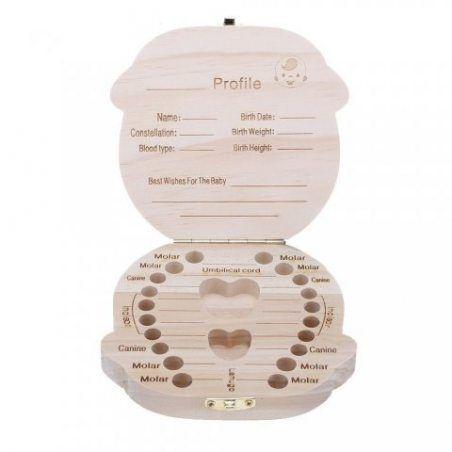 Leisial Boîte Dents de lait Organisateur pour Bébé Dents de lait Rangement Enregistrer Cadeaux Boîte en Bois pour 3-6 ANS Enf