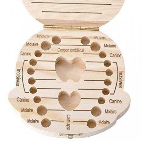 Cdet Garçons et filles boîte cadeau dents en bois commémorent une boîte de rangement monumentale version française