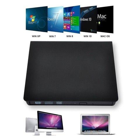 LeaningTech Pop-up Mobile Externe DVD-RW Drive Mobile CD/DVD Writer Drive Svelte Reader Lecteur Noir, for PC Mac Windows