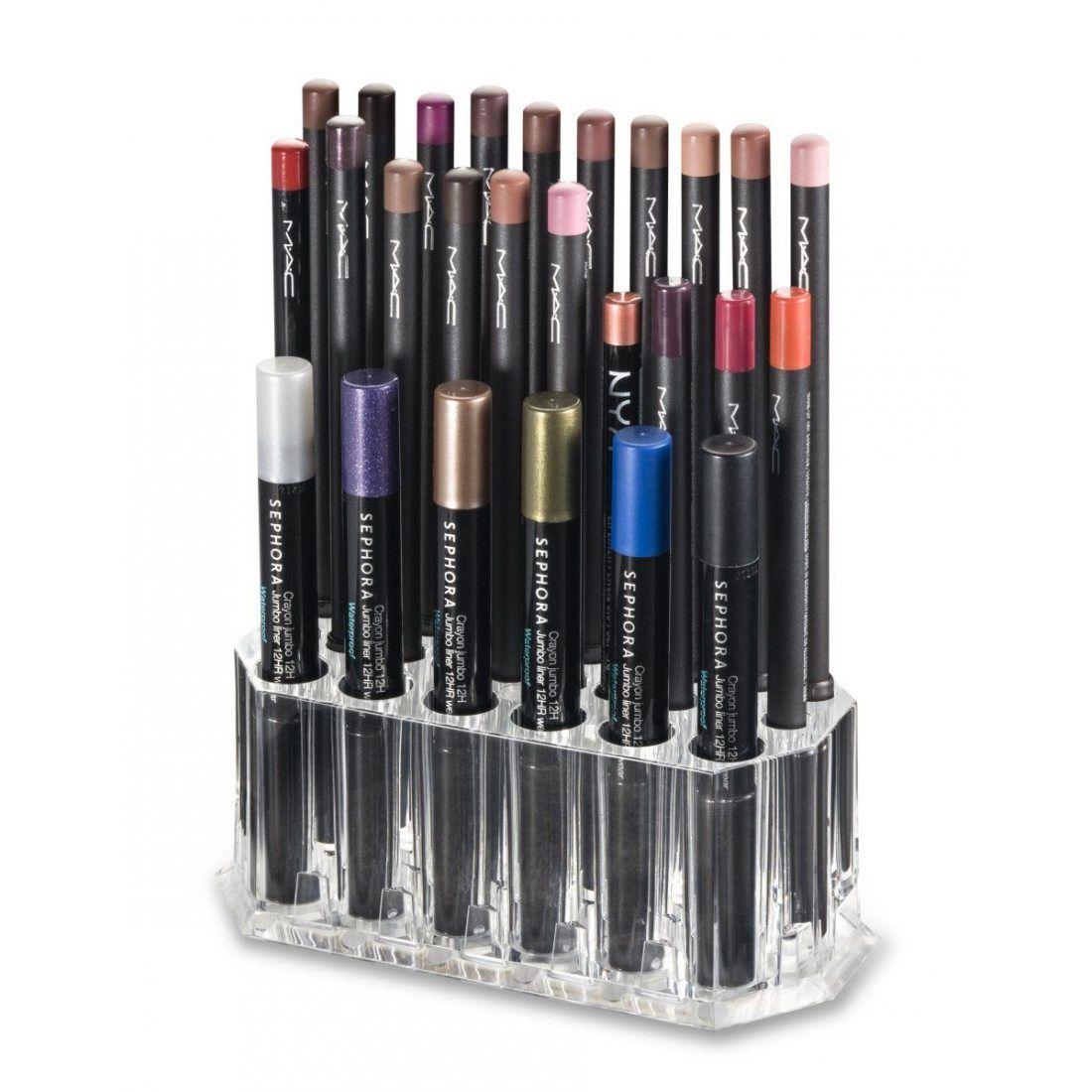 Support acrylique Eye/Lip Liner Organisateur & Beauty Care 26un espace de rangement–byalegory (Clear)