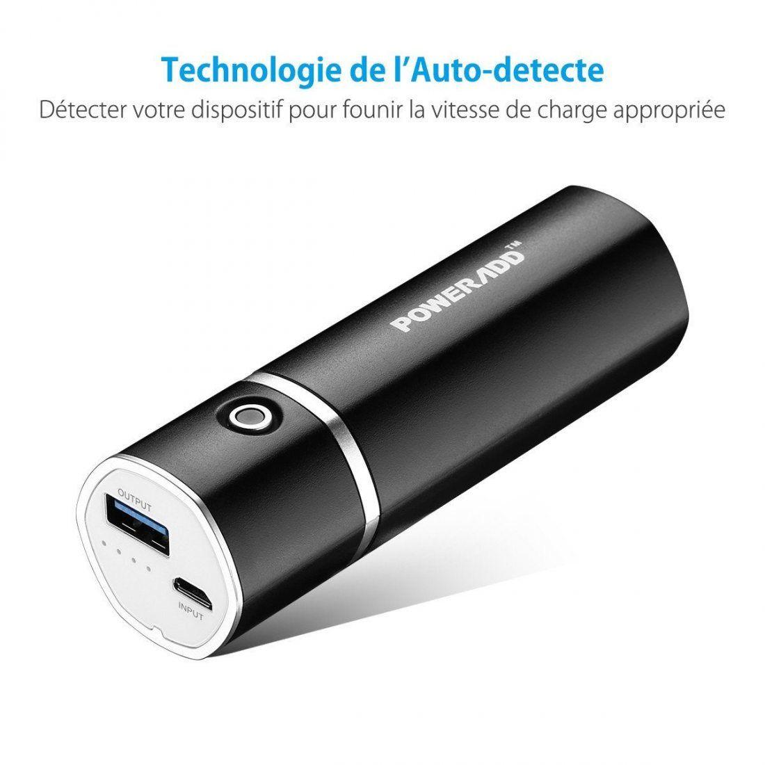poweradd slim2 5000mah chargeur portable batterie de secours externe pour t l phone potable. Black Bedroom Furniture Sets. Home Design Ideas