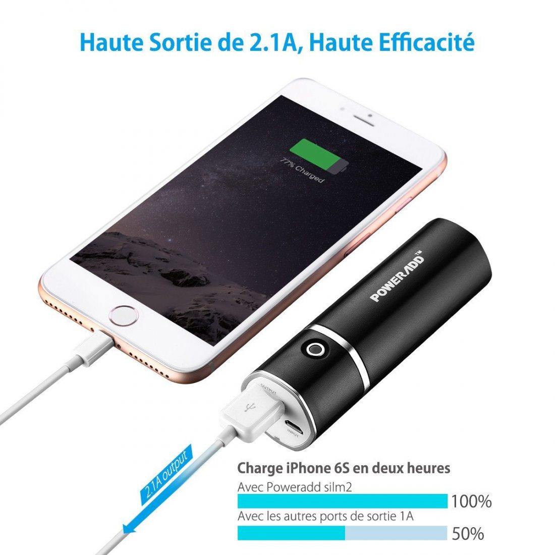 poweradd slim2 5000mah chargeur portable batterie de secours externe pour t l phone potable. Black Bedroom Furniture Sets. Home Design Ideas