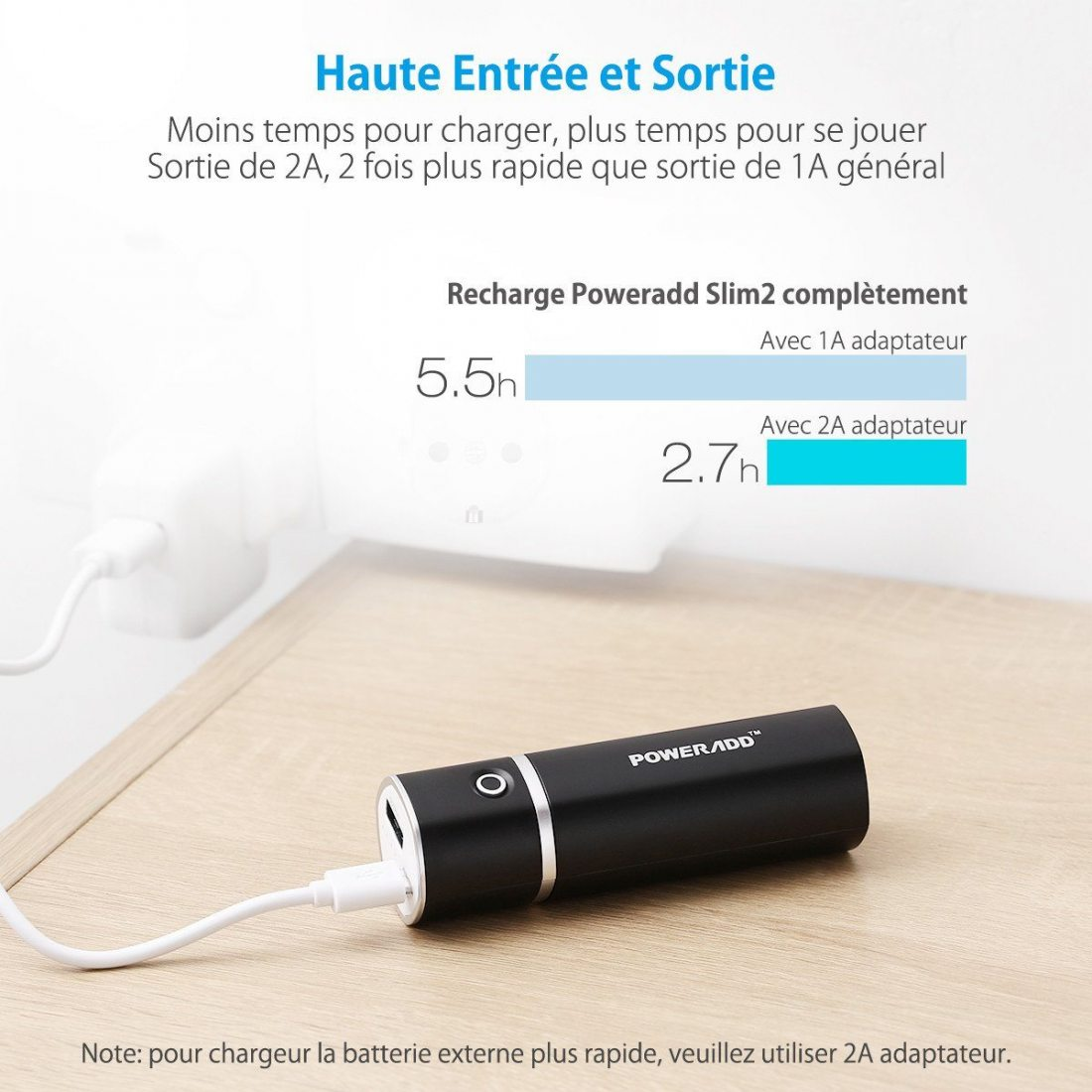 Poweradd Slim2 5000mAh Chargeur Portable Batterie de Secours Externe pour téléphone potable(Apple Adapteurs Non Inclus)et D'a