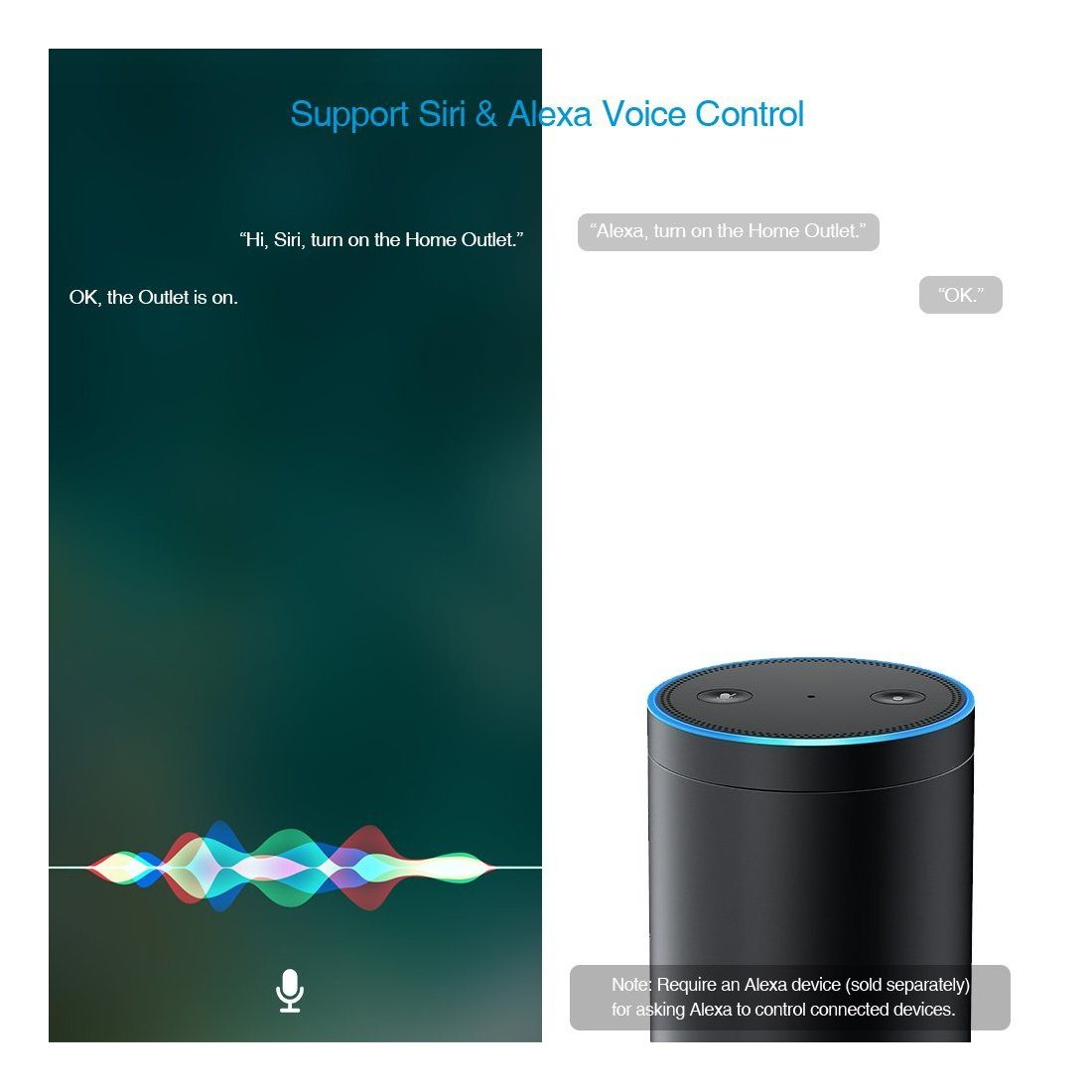 Koogeek Prise Intelligente Wifi Smart Plug 2.4GHz avec HomeKit Siri et Alexa Home app Adapt/é pour iOS 9.0 et Android 4.3