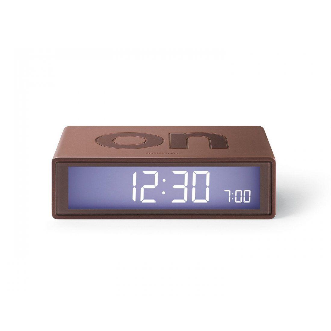 Lexon LR130.MM Flip Horloge  Réveil LCD ABS Gomme Marron 10,5 x 2,9 x 6,5 cm