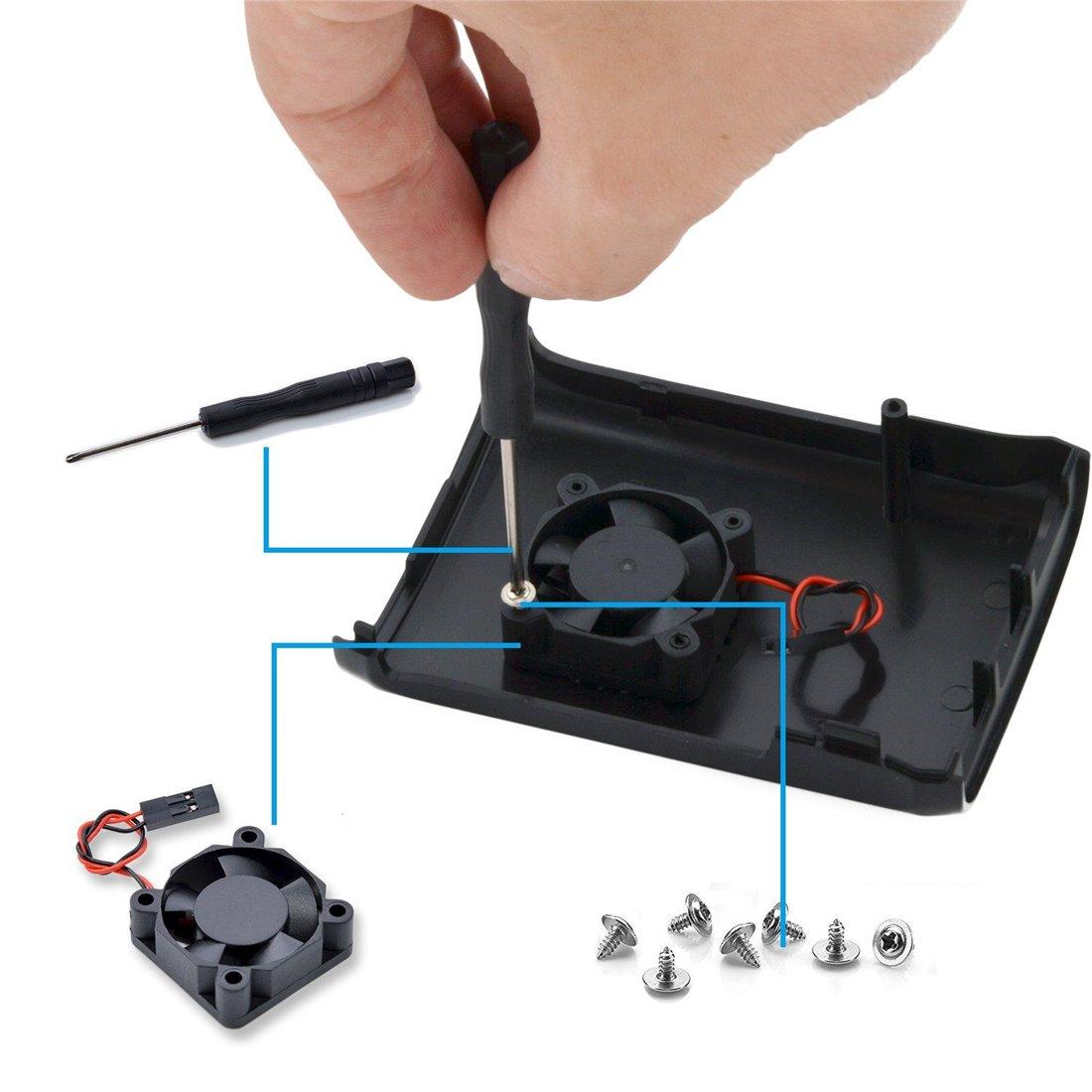 Aukru Kit de Raspberry Pi Alimentation 5V 3A avec interrupteur + Transparent Case + Ventilateur (Brushless DC Fan) + Dissipat