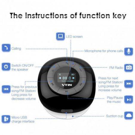 [Upgraded Version]VTIN Relaxer Mini Enceinte Bluetooth 4.0 Haut-Parleur Etanche Puissant avec Tuner FM Radio Ecran LCD Digita