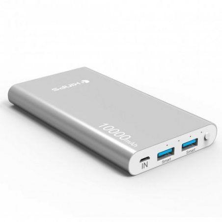 Kinps® Batterie Externe10000mAh Double USB de Secours Chargeur Portable avec LED Power Bank Output Intelligent pour iPhone, i