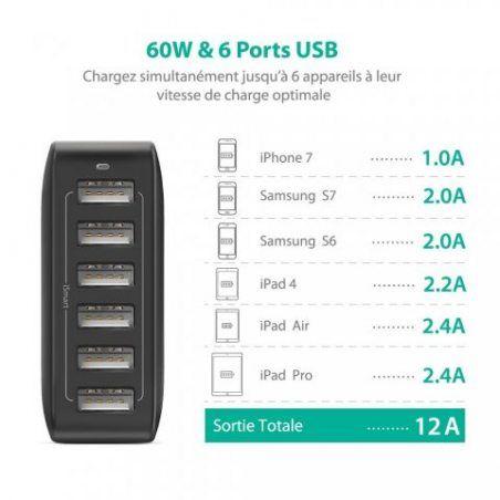 Chargeur Secteur Universel 6 Ports USB RAVPower (Sortie 60W / 12A 5V, Technologie iSmart, International 100 - 240V) Adapteur