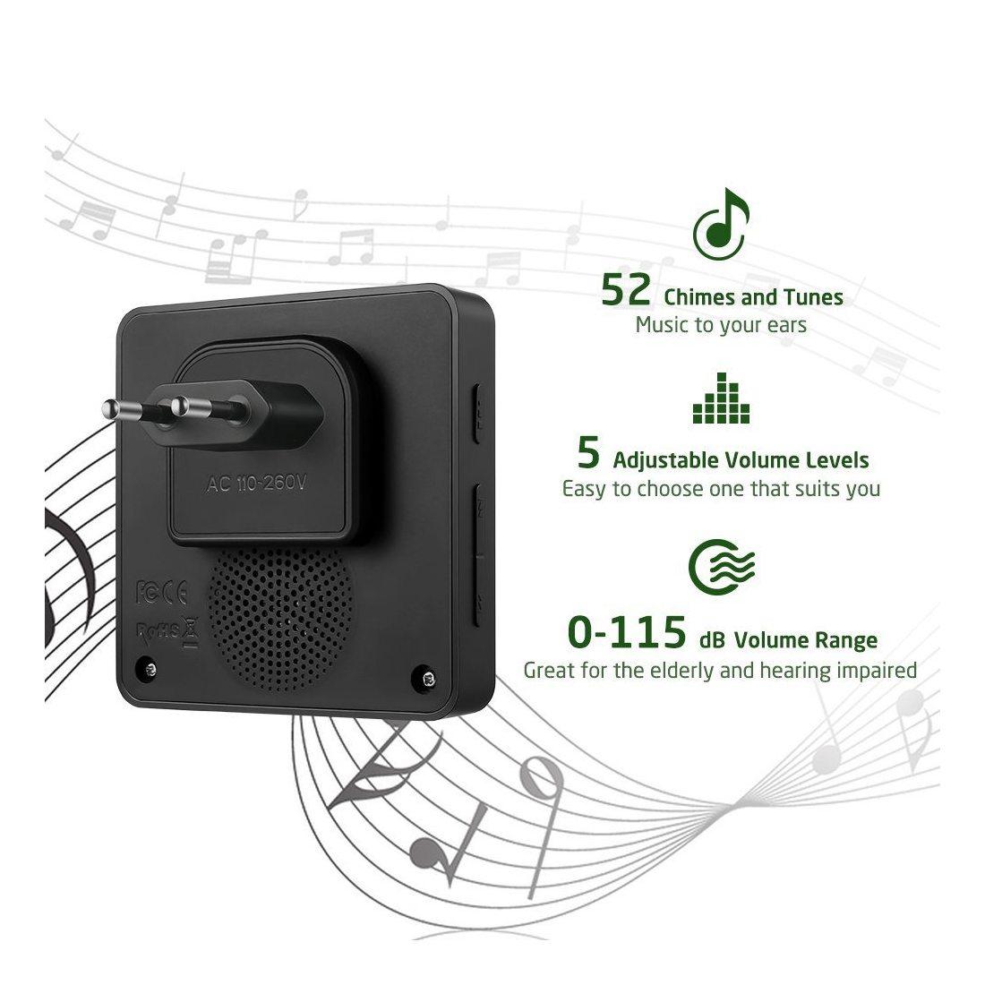 Sonnette Sans Fil AVANTEK DB-11 400m Sonnette de Porte Étanche Kit de Carillon Electronique avec un Récepteur Enfichable, 52