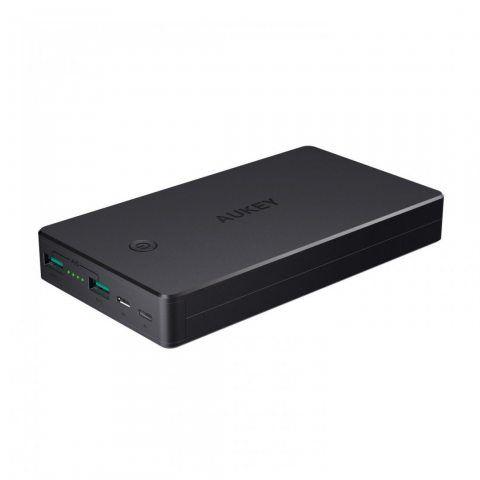 AUKEY Batterie Externe 20000mAh, PowerBank 2 Ports Entrée (Micro USB + Lightning), pour iPhoneX/8/Plus/7/ 6s,SamsungS8