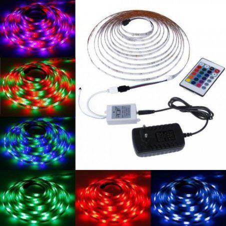 Rovtop Ruban LED Etanche 3528RGB- 5M- 300 12V 2A LED Bande Flexible Lumineux Bande Lumineuse LED Décoration d'Eclairage LED B