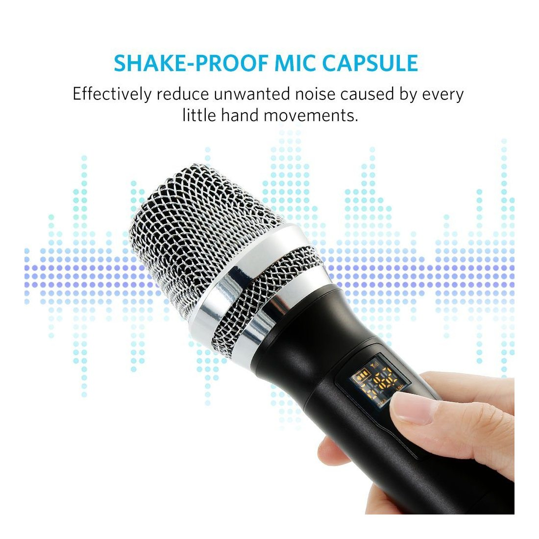 Micro Sans Fil UHF Micro Karaoké HF Récepteur pour 6.35mm et 3.55mm Micorphone Sans Fil UHF en Métal pour Karaoké Soirée Réun